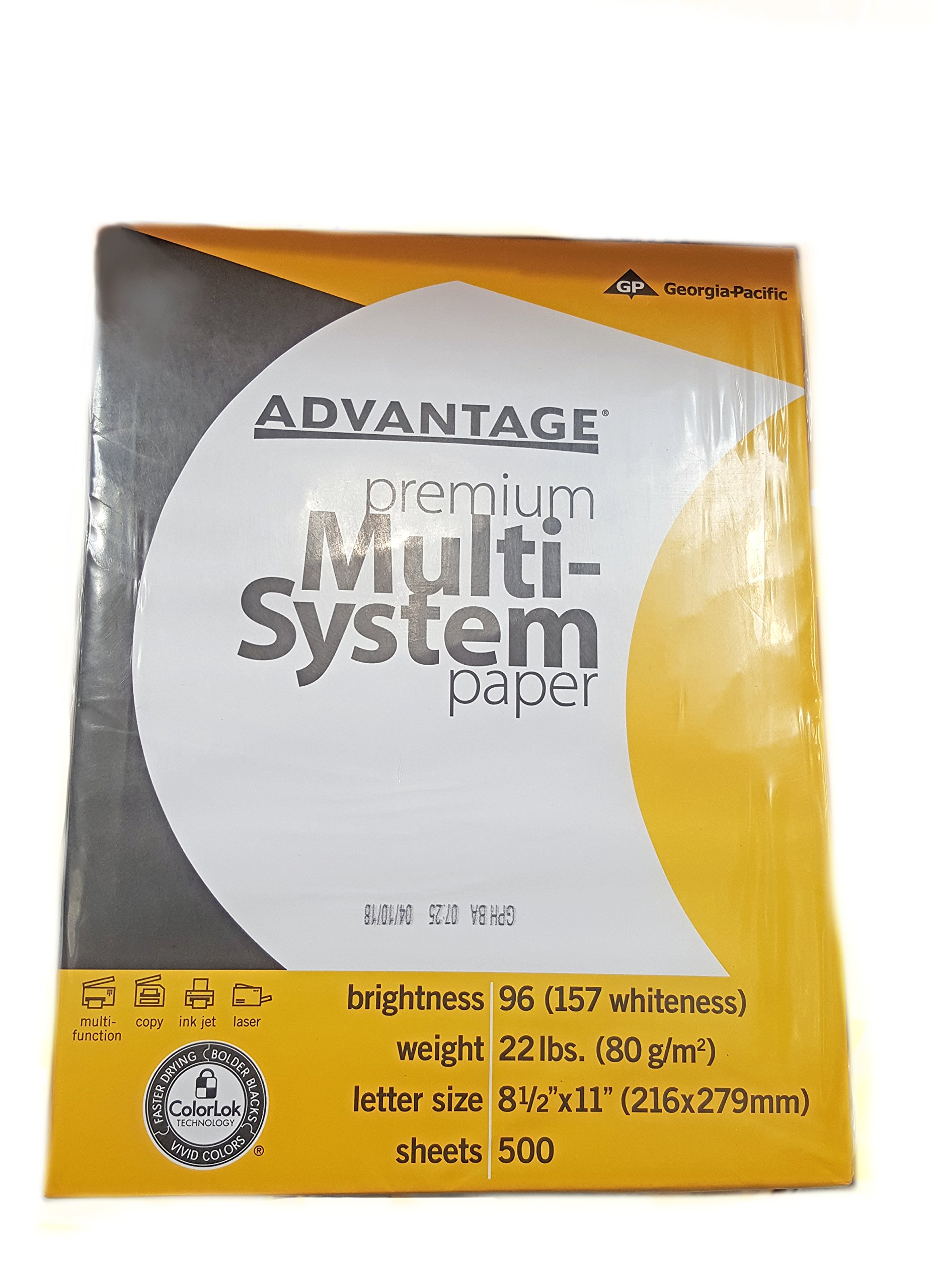 Georgia-Pacific (8.5''x11'') Advantage Premium Multi-System ColorLok Printer Paper - 2500 Sheets
