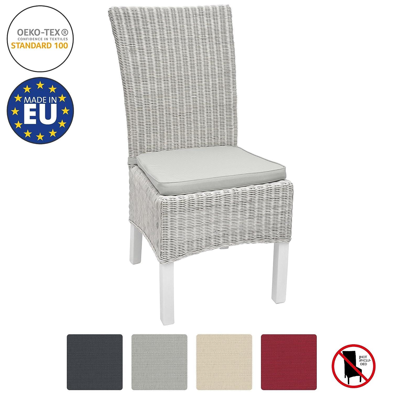 Beautissu Galette de chaise Pia 7x7x7cm Gris clair - déhoussable