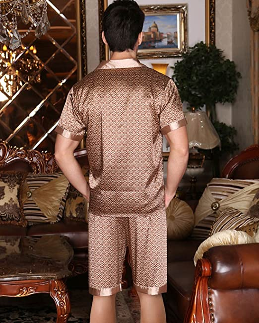 ab9a1f5491 Yanqinger Men Luxury Sleepwear Silk Pajamas Set Soft Polyester Short Sleeve  Loungewear Set at Amazon Men s Clothing store