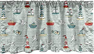 Ambesonne Lighthouse Window Valance, Seagulls Lighthouses Message Bottles Steamboats Sailboats Wavy Pattern Nautical, Curtain Valance for Kitchen Bedroom Decor with Rod Pocket, 54