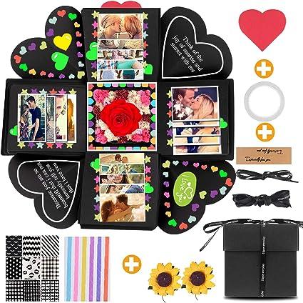 YeeStone - Caja de regalo sorpresa creativa, caja de regalo, caja sorpresa, caja de explosión, álbum de fotos plegable, álbum de fotos, para Navidad, San Valentín, aniversario, cumpleaños, boda: Amazon.es: Oficina y