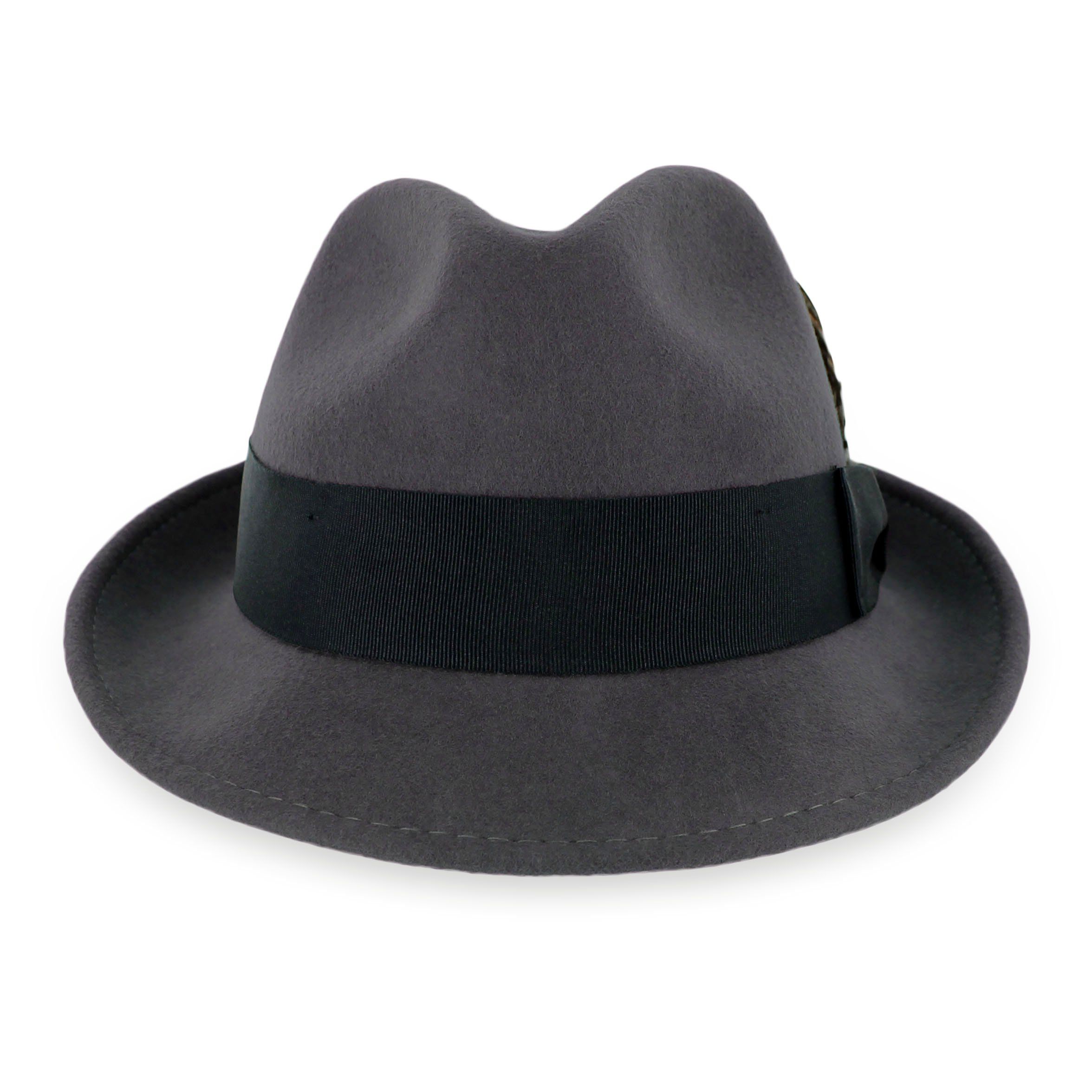 Belfry Trilby Men/Women Snap Brim Vintage Style Dress Fedora Hat 100% Pure Wool Felt Available In Black, Grey, Pecan (S, Grey) by Hats in the Belfry