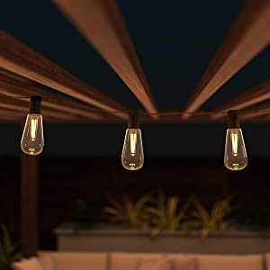 Pure Garden 50-LG1090 Outdoor Sting Solar Powered Traditional Hanging Lighting with Vintage-Style Bulbs for Patio, Backyard, Garden, Events