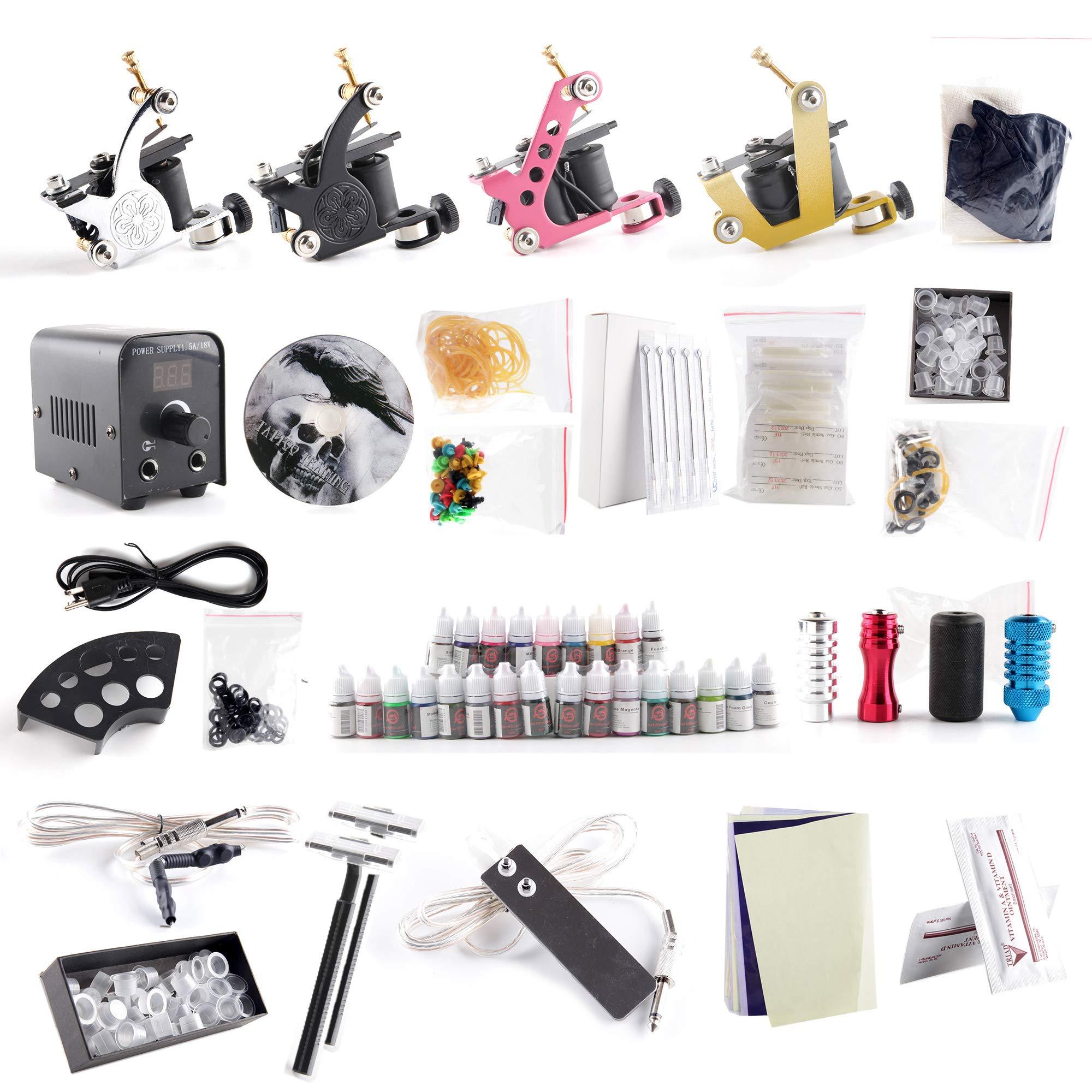 1TattooWorld Complete Tattoo Starter Kit, 4 Tattoo Machines, Digital Power Supply, 25 Color 5ml Tattoo Inks, Grips, Needles, Transfer Paper etc, OTW-KTB425A