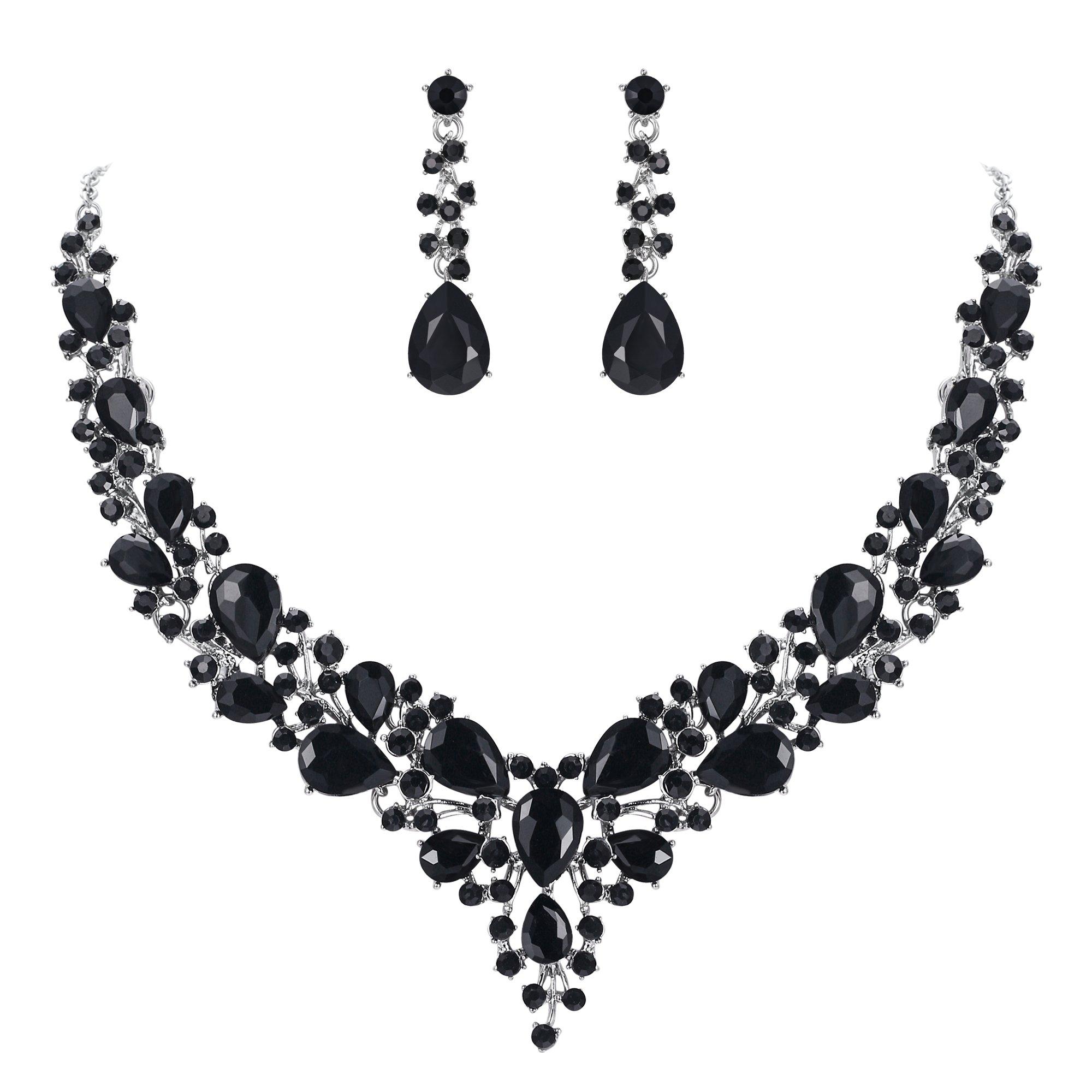 BriLove Wedding Bridal Necklace Earrings Jewelry Set for Women Austrian Crystal Teardrop Cluster Statement Necklace Dangle Earrings Set Black Silver-Tone