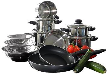 m+k by elo 68015 topfset 15 teilig, starterset, edelstahl ... - Erstausstattung Küche