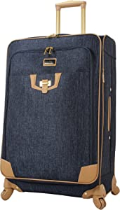 Nicole Miller New York Luggage Collection - Designer Lightweight Softside Expandable Suitcase- 20 Inch Carry On Bag with 4-Rolling Spinner Wheels (Paige Navy)