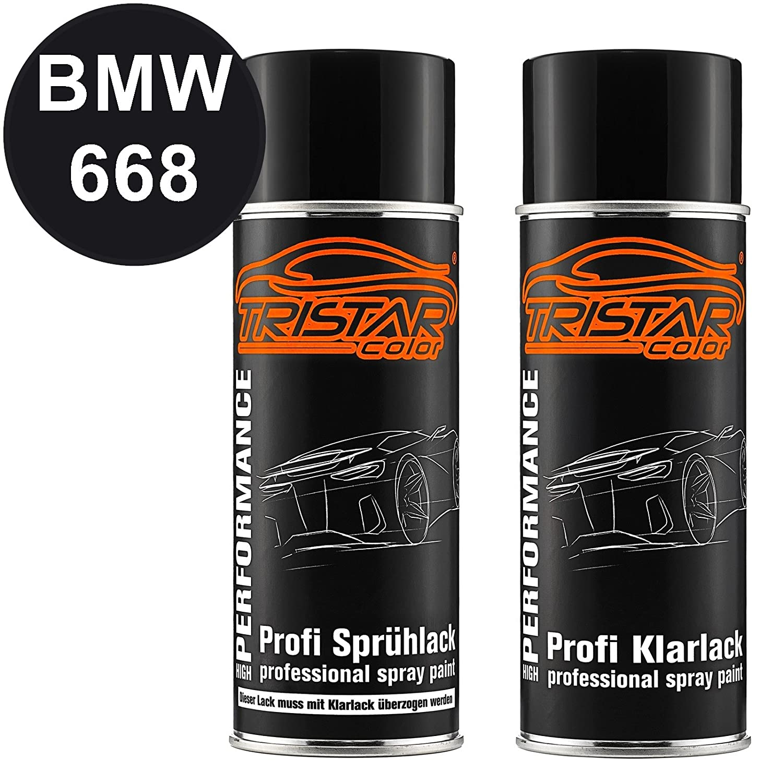 TRISTARcolor Autolack Spraydosen Set BMW 668 Glanzschwarz/Schwarz II Basislack Klarlack Sprü hdose 400ml MG Colors GmbH