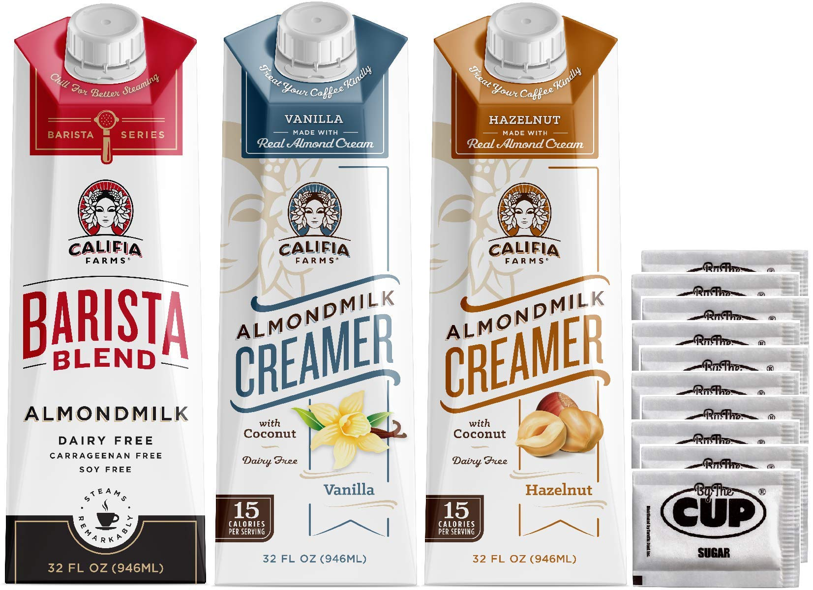 Califia Farms Coffee Creamer Variety - Vanilla, Hazelnut, and Barista Blend, Dairy Free Almond Milk, 32 Ounce Cartons - with By The Cup Sugar Packets