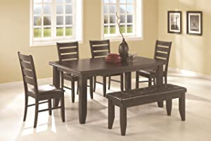 Coaster Home Furnishings Dalila 6-Piece Rectangular Table Dining Set Cappuccino and Black