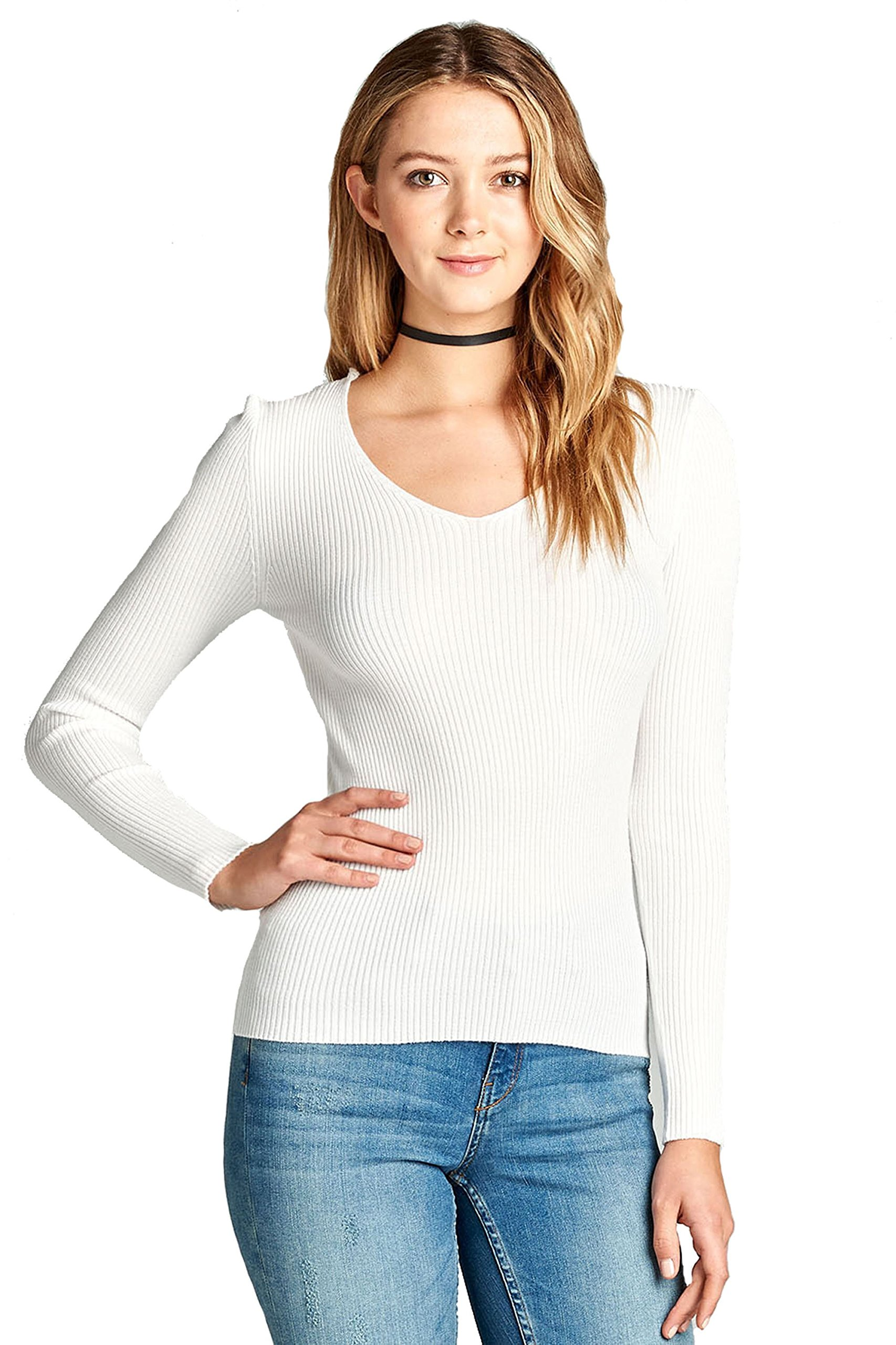 Khanomak Plain Solid Stretch Fitted Long Sleeve V Neck Ribbed Knit Lightweight Sweater Top (Small, Off White)