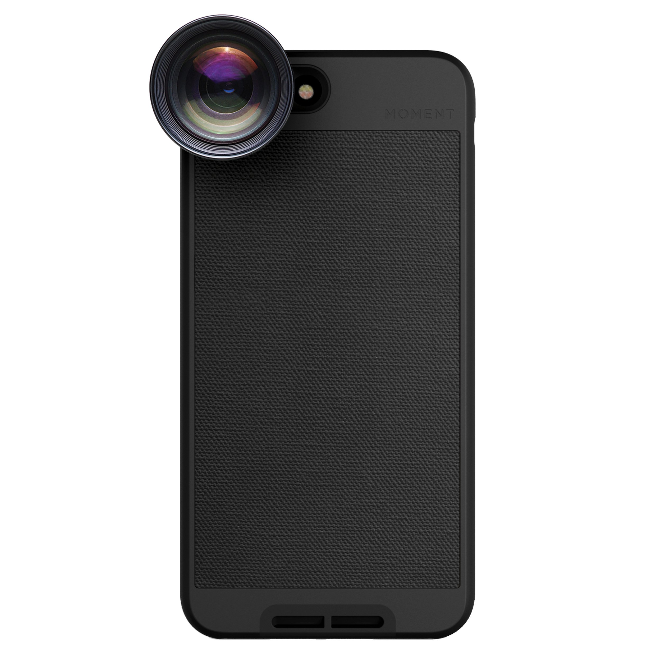 iPhone 8 Plus / iPhone 7 Plus Case with Telephoto Lens Kit || Moment Black Canvas Photo Case plus Tele Lens || Best iphone zoom attachment lens with thin protective case.