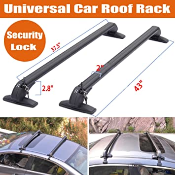 UNIVERSAL ANTI-THEFT ROOF BARS WITH RAISED ROOF RAILS BLACK WITH SECURITY LOCKS