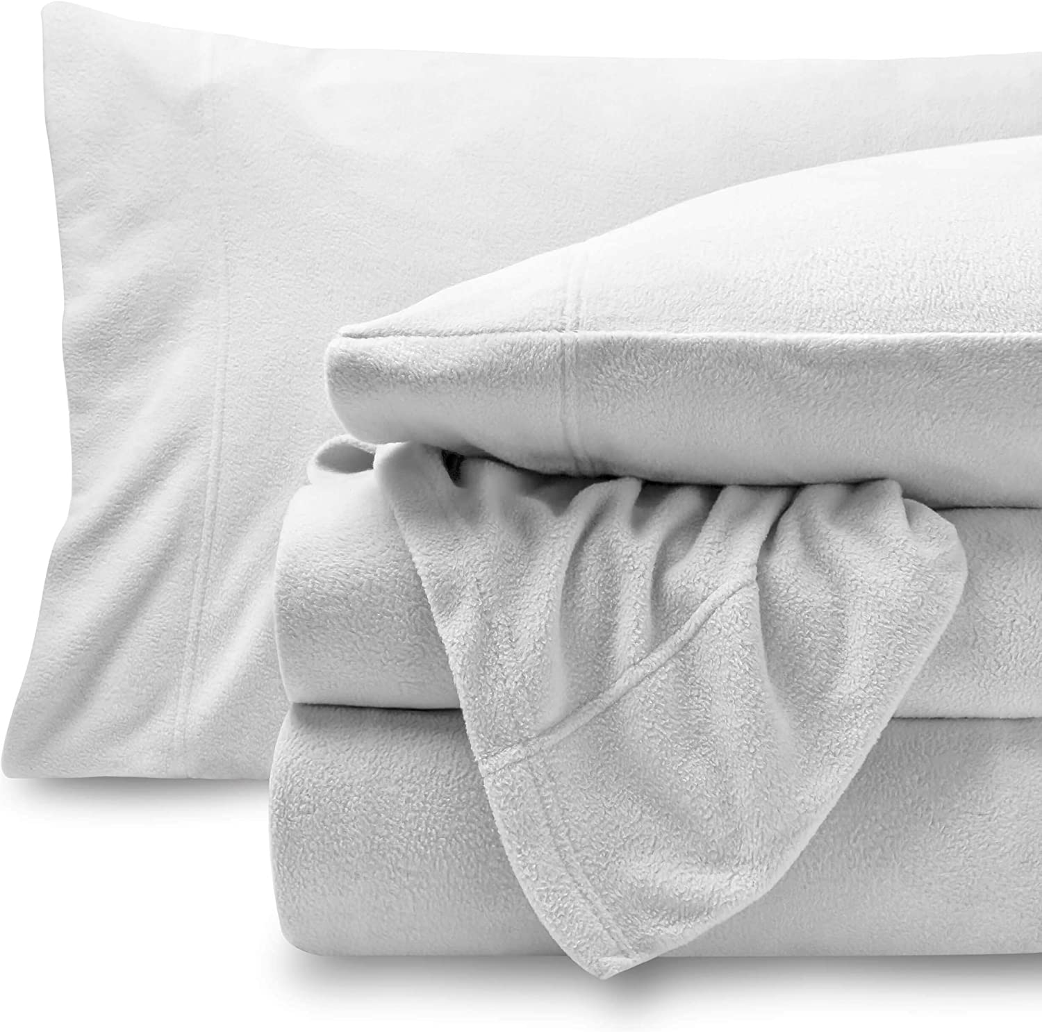 Bare Home Super Soft Fleece Sheet Set - Twin Extra Long Size - Extra Plush Polar Fleece, Pill-Resistant Bed Sheets - All Season Cozy Warmth, Breathable & Hypoallergenic (Twin XL, White)