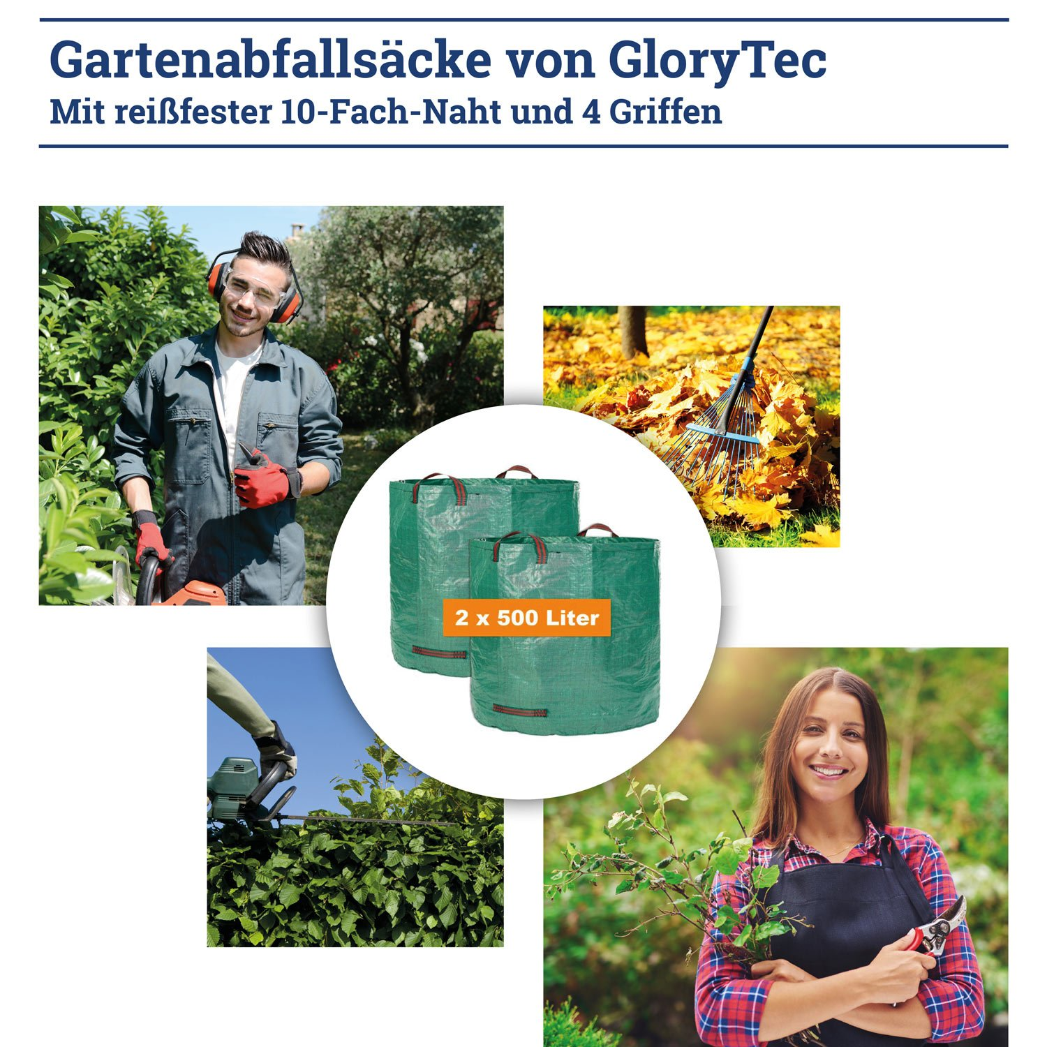 GloryTec XXL Garden Bags 2x500 Liters - Price-Performance Winner 2018* - Premium Garden Storage Bag Set - Sturdy Garden Bag Made of Extremely Robust Polypropylene Fabric (PP) 150gsm - Garden Waste Bin Self-Standing and Foldable 20x24(inches)