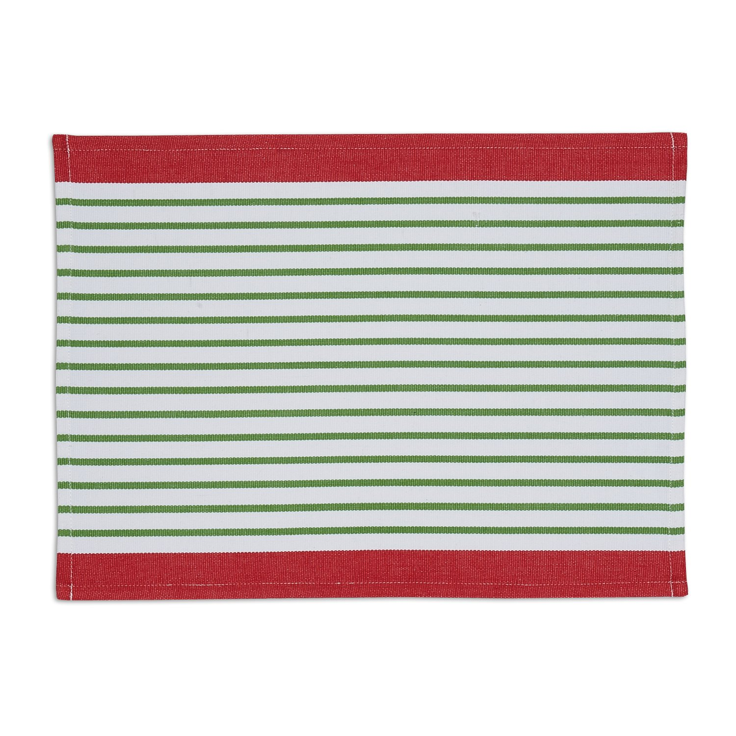 DII Washable Ribbed Cotton Placemat, Set of 6, Pine Needle Stripe - Perfect for Fall, Dinner Parties, BBQs, Christmas, Weddings and Everyday Use