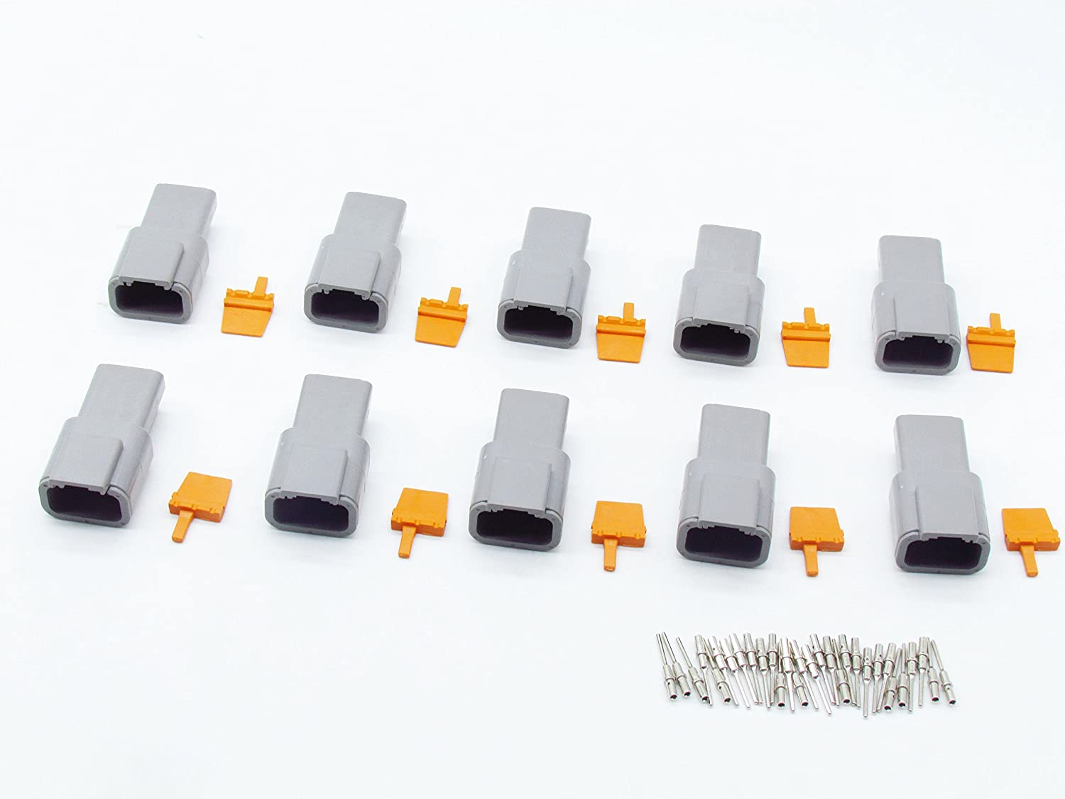 CNKF 10 Sets DTM gray PLUG 3 position way male auto connector DTM04-3P ATM04-3P with terminals pins