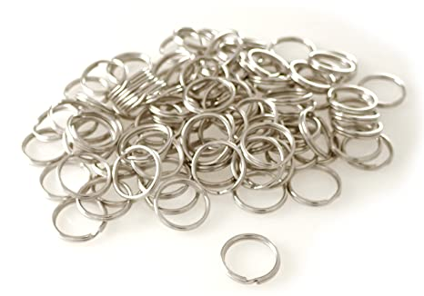 Anillas para llavero de acero galvanizado, 25 mm, 100 unidades
