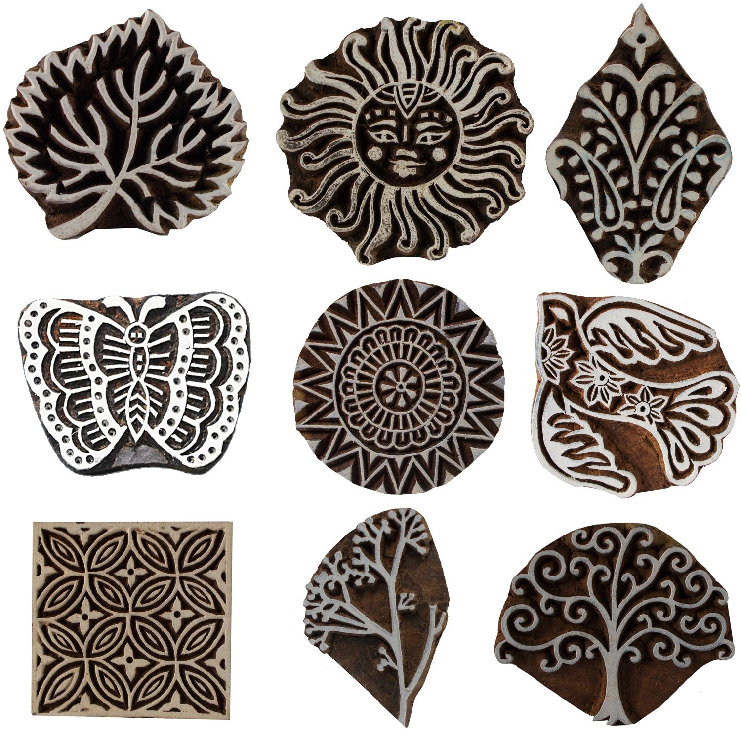 Bunch of 9 Motif Printing Blocks Indian Handmade Square Floral Butterfly Sun Tree Leaf Textile Print Wooden Stamps Clay Pottery Henna Scrapbook Block