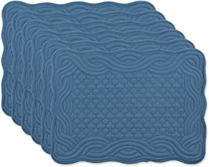 DII Quilted Farmhouse Collection Tabletop, Placemat Set, French Blue 6 Piece