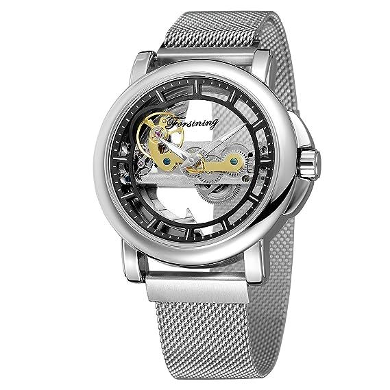 Forsining para hombre esqueleto selfwinding reloj de diseño de la marca de lujo de pulsera de