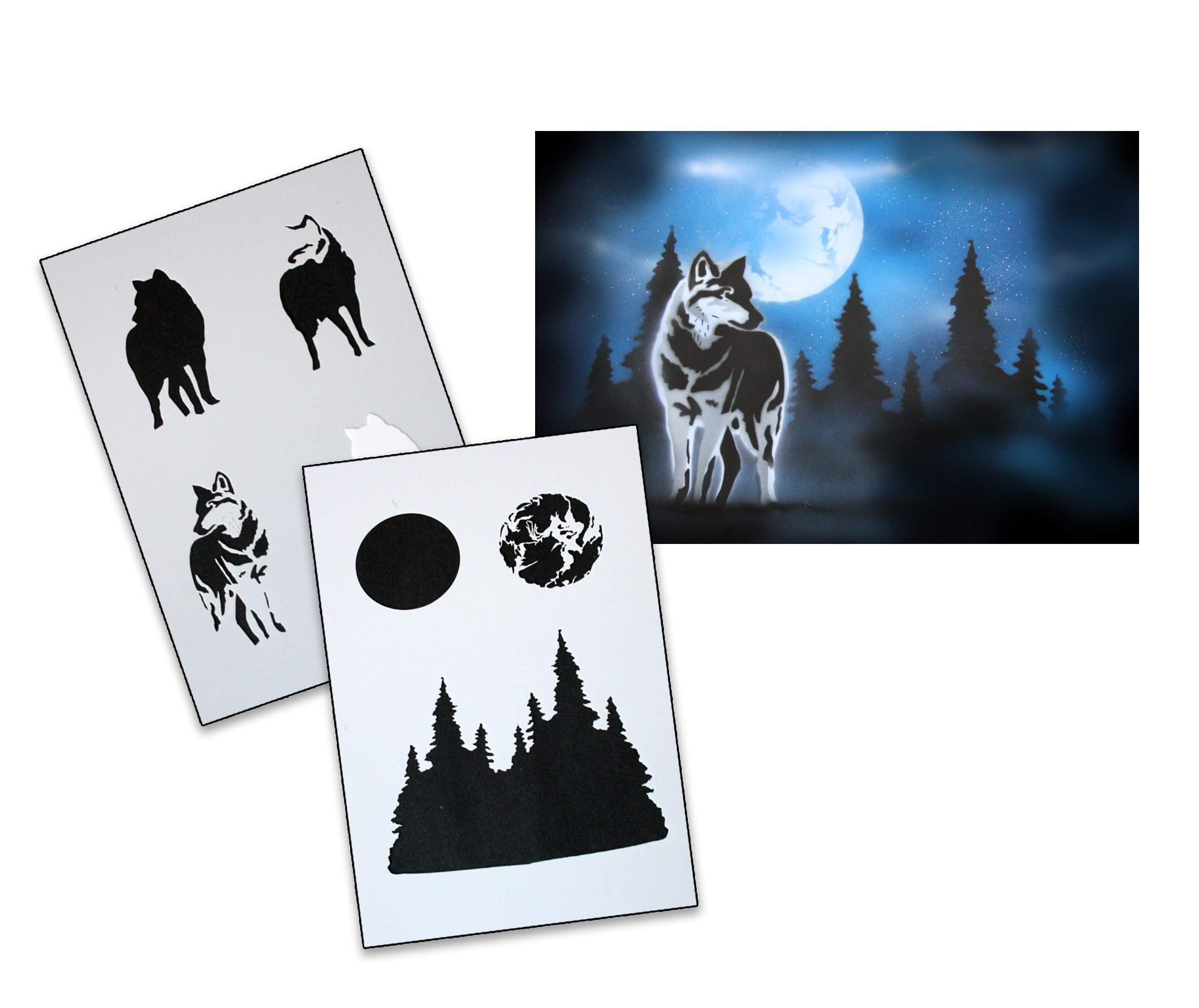 UMR-Design AS-094 Wolf Airbrush Stencil Template Step Step Size XL