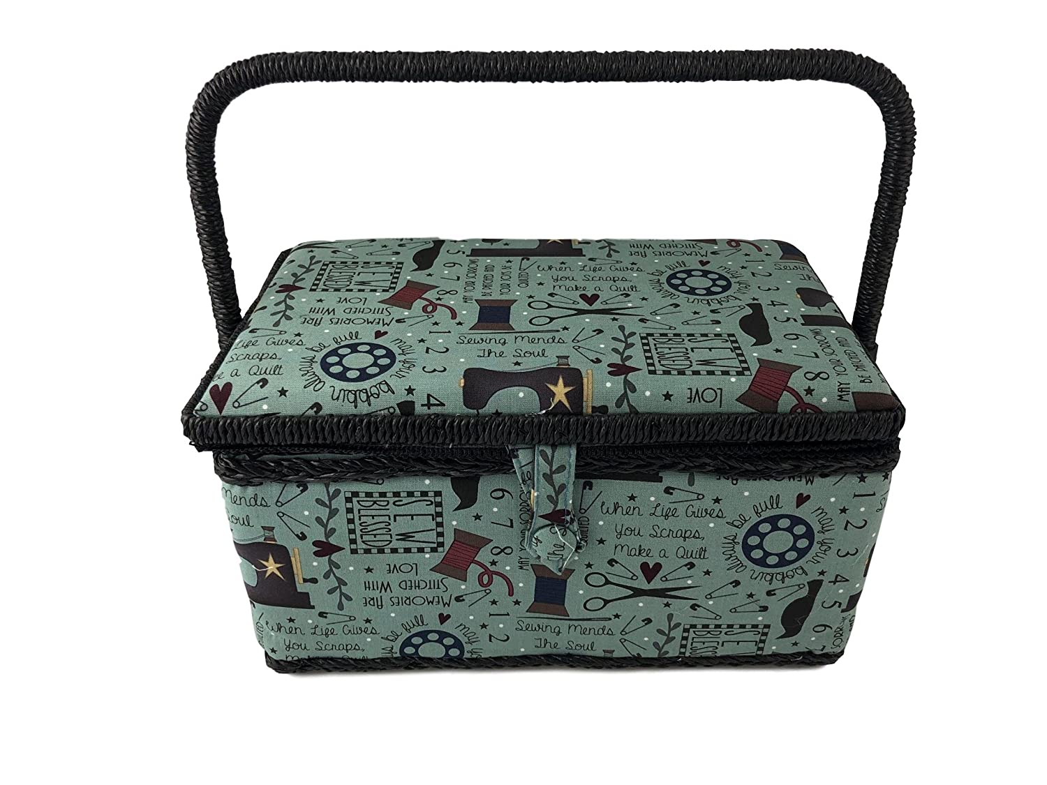 Medium Rectangle Sewing Basket Box with Tray Pincushion 11x7x6.5 (Medium 11x7x6.5, Black with Beige Butterflies) Allary