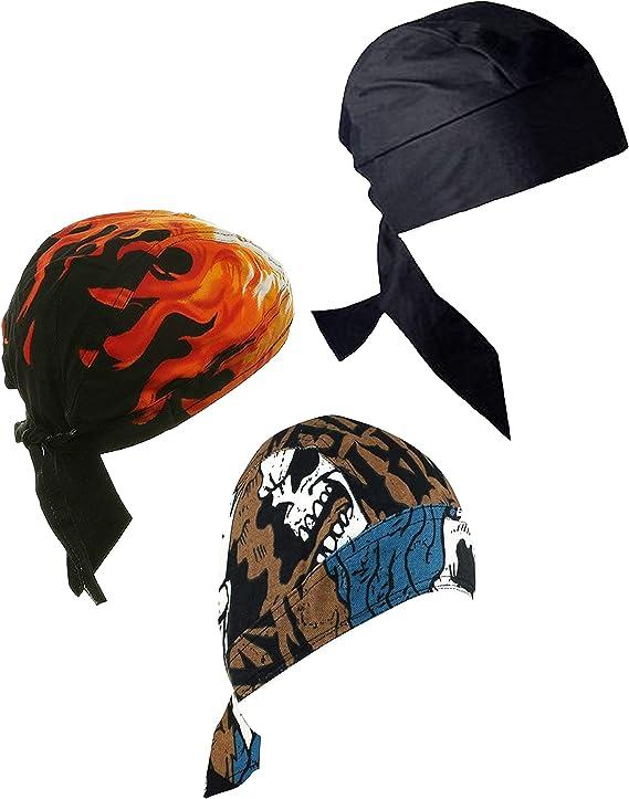 3-SKULL/&CROSSBONE Flame Hav-A-Danna FITTED TIED BANDANA DOO DO RAG Head Wrap Cap
