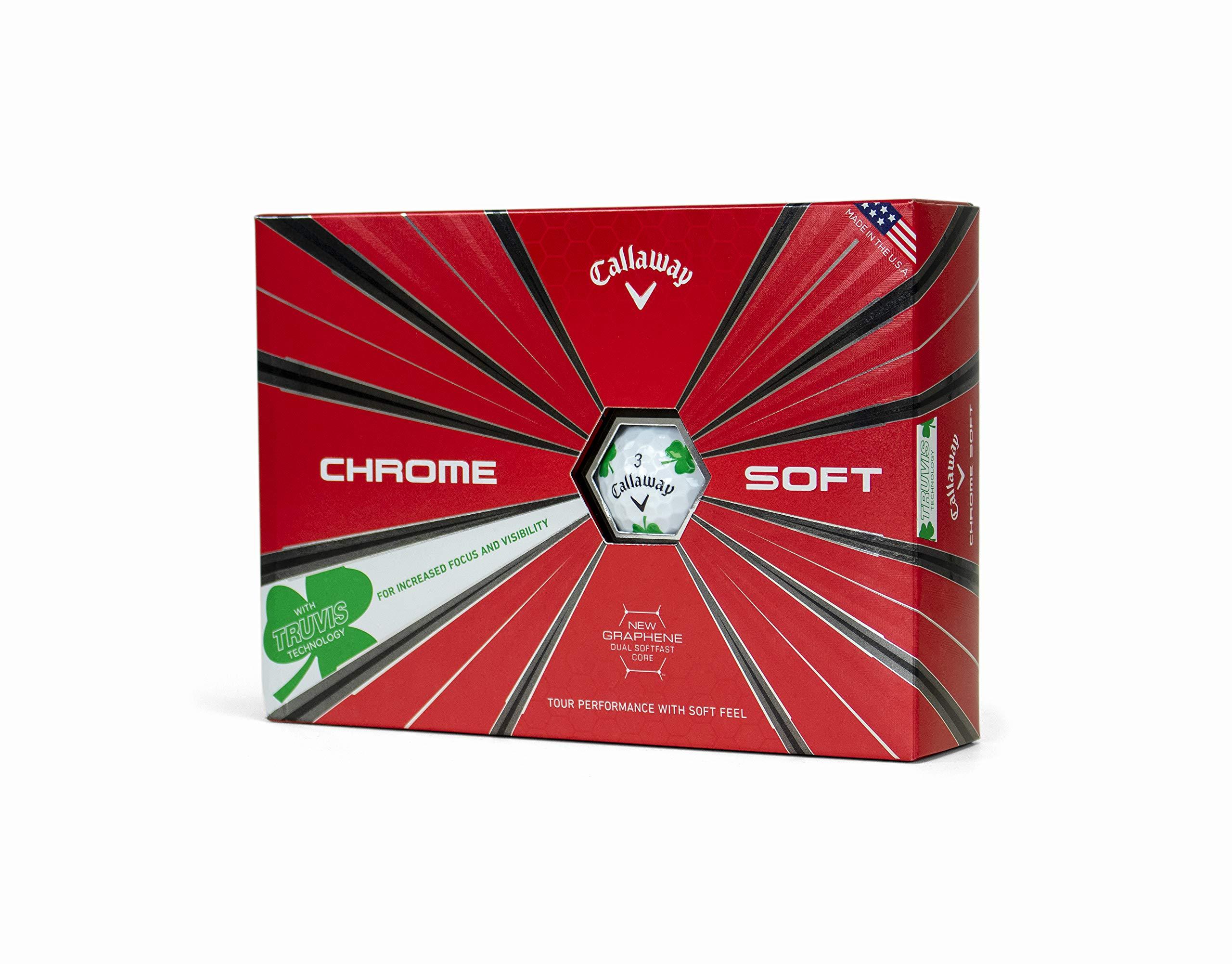 Callaway Golf Chrome Soft Truvis Golf Balls, (One Dozen), Shamrocks (Limited Edition) by Callaway