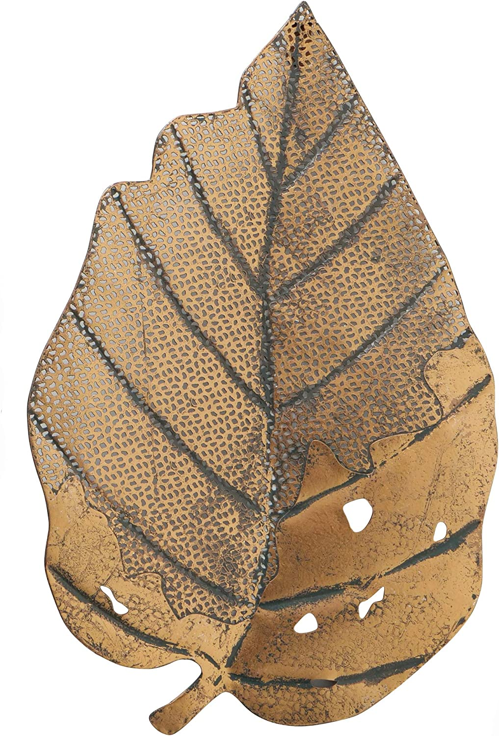 Leaf Wall Art Sculpture, Antique Gold Finish, Powder Coated Iron, Metal Cut Outs and Open Patches, Hanger on Back, 12.25 W x 19.0 H Inches