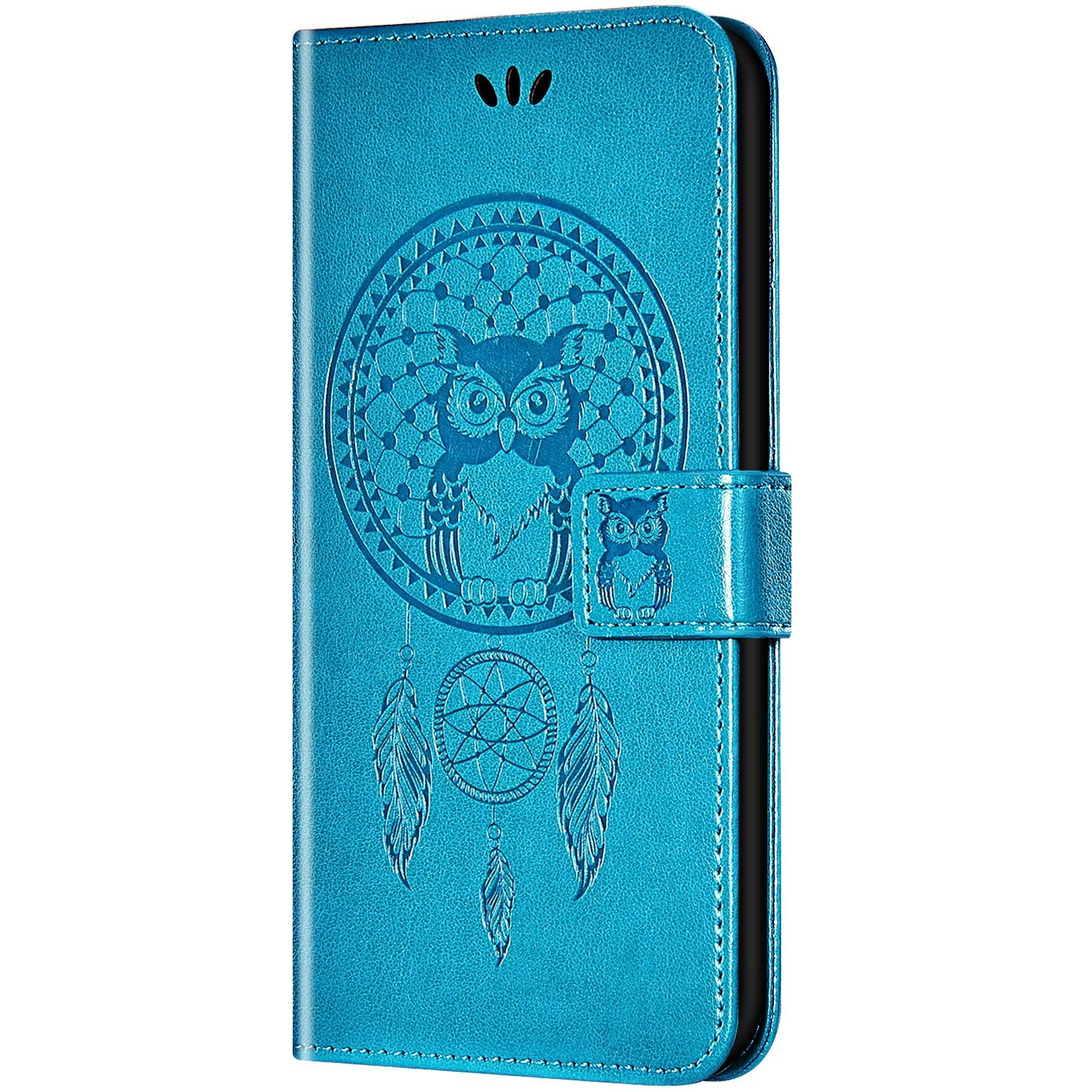 Case for Galaxy A20/Galaxy A30 Flip Case Ultra Slim PU Leather Wallet with Card Holder/Slot and Magnetic Closure Shockproof Cartoon Animal Owl Embossed Protective Cover for Galaxy A20/A30,Blue by ikasus