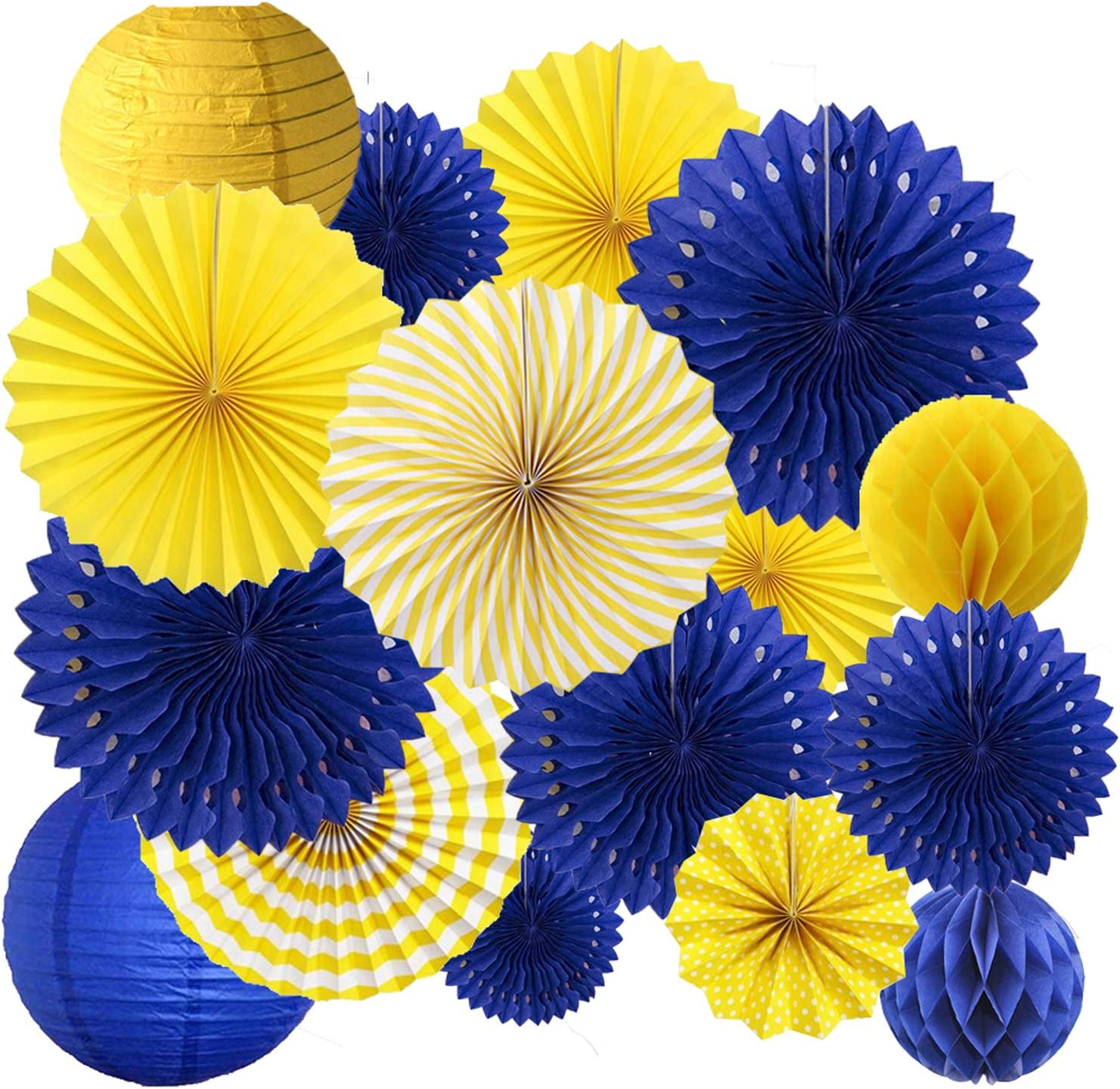 16PCS Yellow Royal Blue Birthday Graduation Party Congrats Grad Decoration Supplies Hanging Paper Fan Rosettes Honeycomb Ball Lanterns Royal Prince Boy Baby Shower Wedding Bridal Shower Photo Backdrop