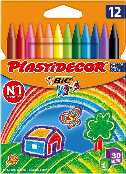 BIC Kids Plastidecor - Blíster de 12 unidades, ceras para colorear, colores surtidos: Amazon.es: Oficina y papelería