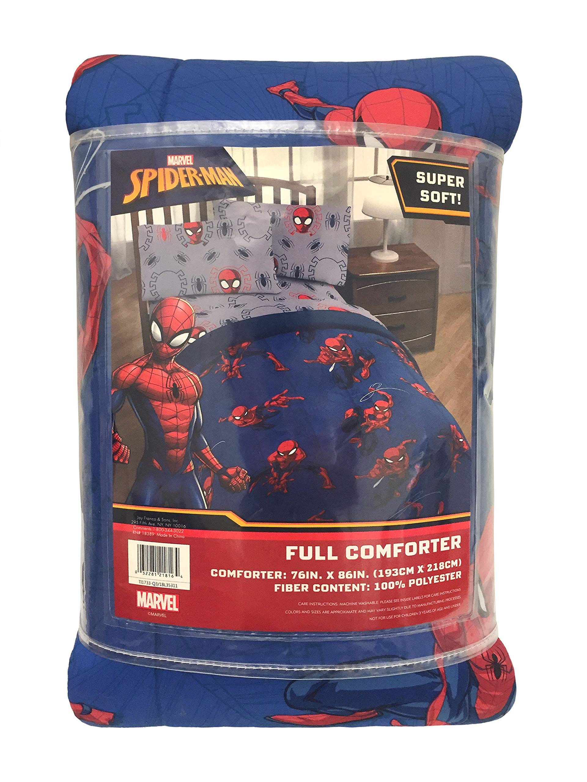 Jay Franco Marvel Spiderman Spidey Crawl Full Comforter - Super Soft Kids Reversible Bedding - Fade Resistant Polyester Microfiber Fill (Official Marvel Product) by Jay Franco (Image #4)