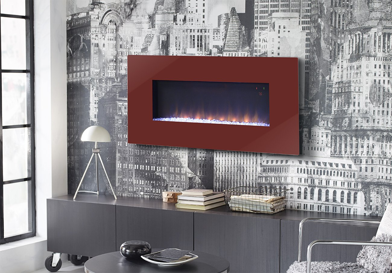 homestar furniture paris 41 inch wide wall mount firebox in red