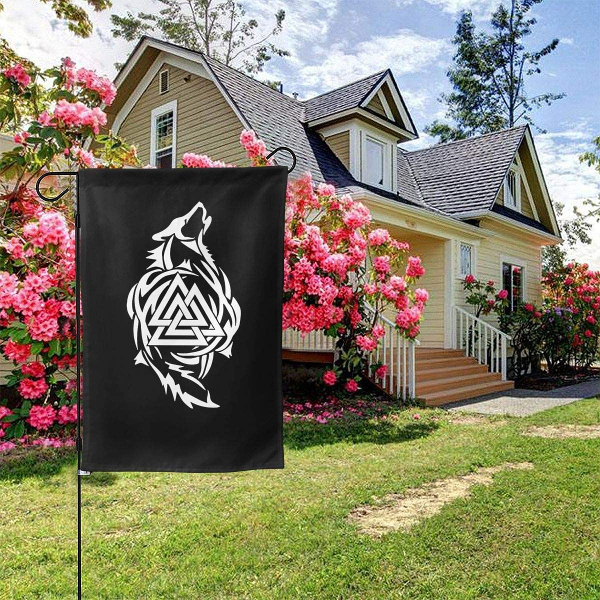 Odin Thor Viking Tribal Norse Wolf Valknut Sticker Garden Flag Welcome Banner for Patio Lawn Party Yard Home Outdoor Decor, On Both Sides, 12.5