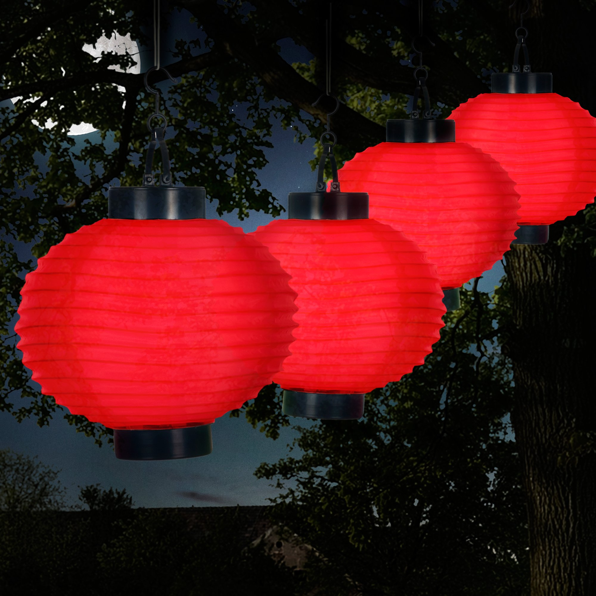 Pure Garden 50-19-R Outdoor Solar Chinese LED Lanterns, Red by Pure Garden
