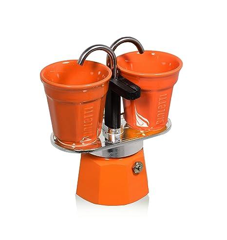 Bialetti 0006191 - Set de Mini cafetera expreso para 2 Tazas y 2 Tazas Naranjas de Aluminio de 22 x 8 x 21,5 cm.
