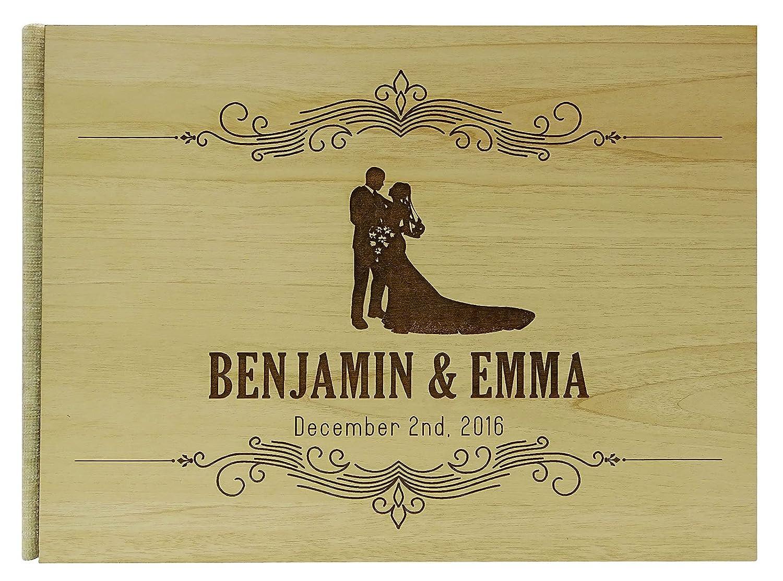 手作り木製木製Engraved Bride & Groom Advice Book Personalisedウェディングゲストブック素朴なGuestbook – 50ページ Large - 9 x 12 Inches GB-48-B Large - 9 x 12 Inches  B01GA3C5TE