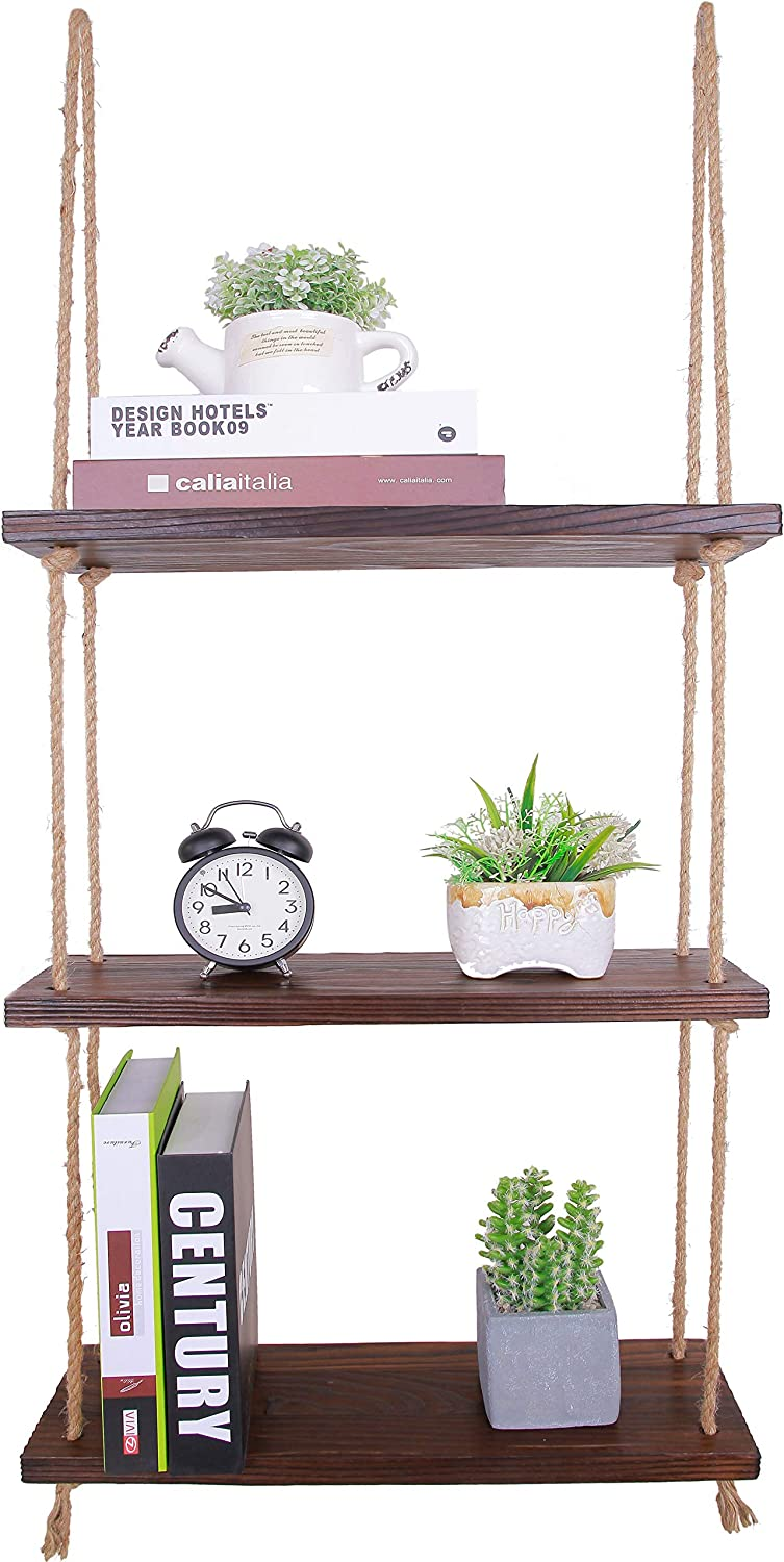 HXSWY Swing Rope Hanging Shelves for Wall Wood Floating Shelves for Bathroom Kitchen Window Shelf for Plants Indoor