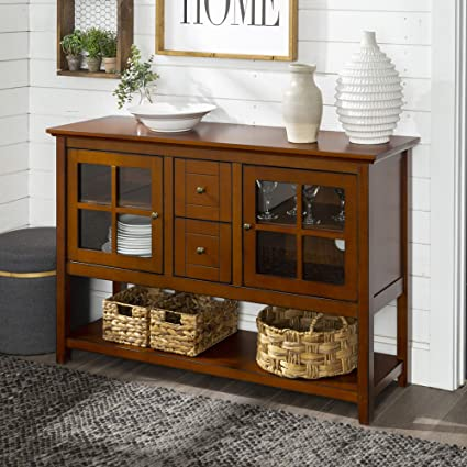 WE Furniture Farmhouse Wood Buffet Storage Cabinet Living Room, 52 Inch,  Rustic Brown