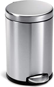 simplehuman 4.5 Liter / 1.2 Gallon Compact Round Bathroom, Brushed Stainless Steel trash can