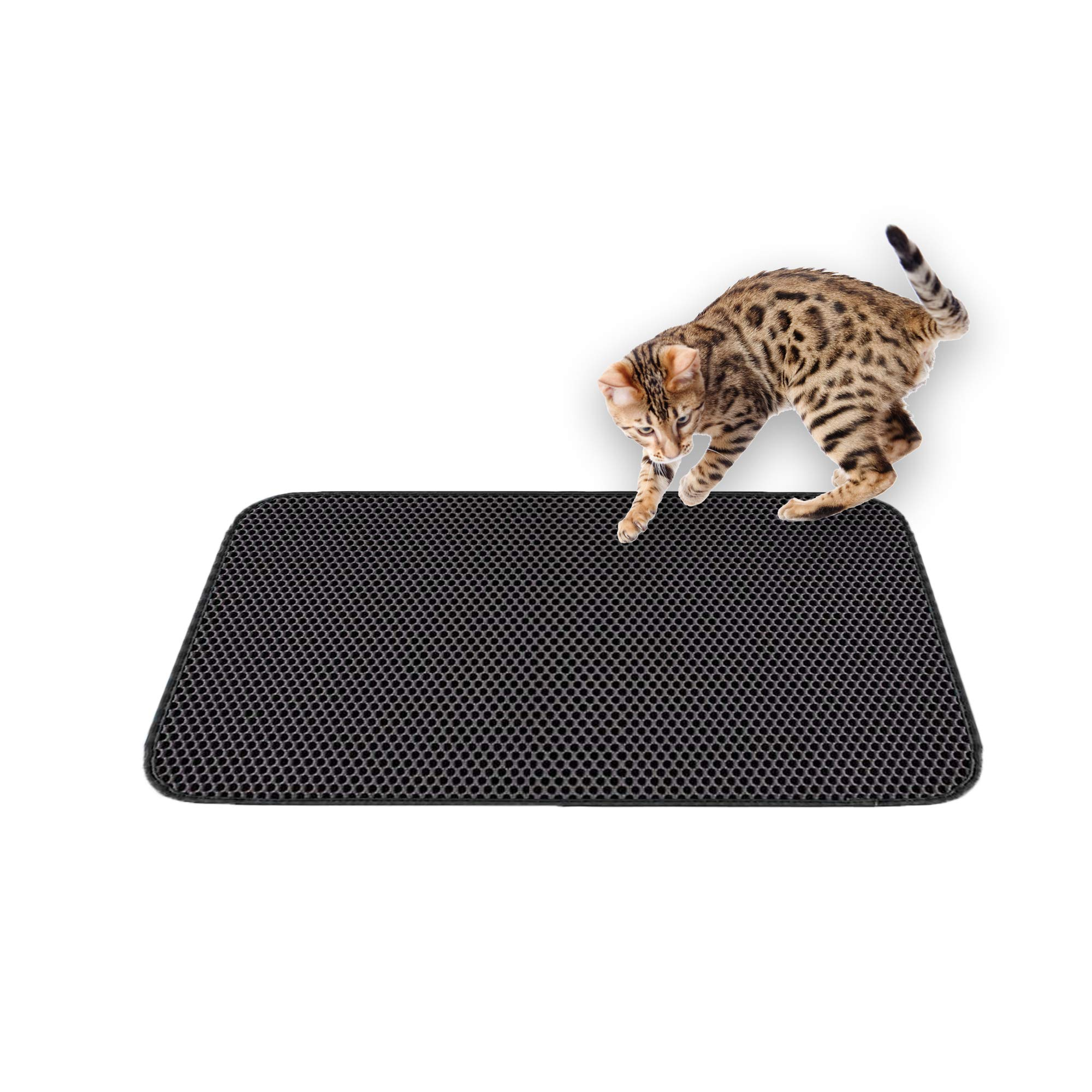 Pet Craft Supply Premium Durable Double Layer Cat Litter Mat Trapper Water Resistant Scatter Control Easy Clean Light Weight EVA Foam Rubber Honeycomb Design Large Size (24X30) by Pet Craft Supply
