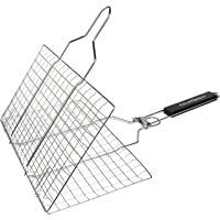 Fourheart Portable BBQ Grilling Basket, Stainless Steel Barbeque Grill Basket with Long Handle for Fish, Vegetable, Steak,Family Outdoor BBQ Accessories Tool