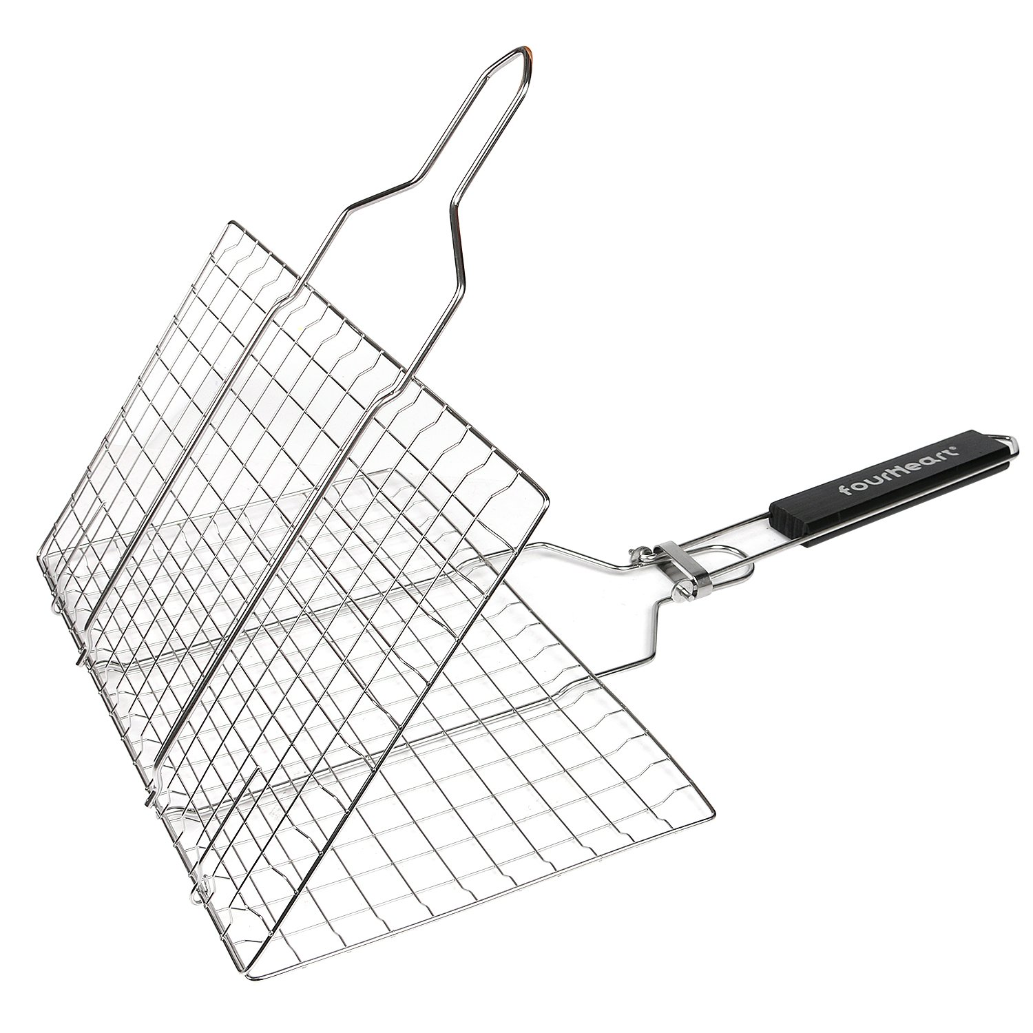 Fourheart Portable BBQ Grilling Basket with Long Handle, Stainless Steel Barbeque Grill Basket Family Outdoor BBQ Accessories Tool for Fish, Vegetable, Steak