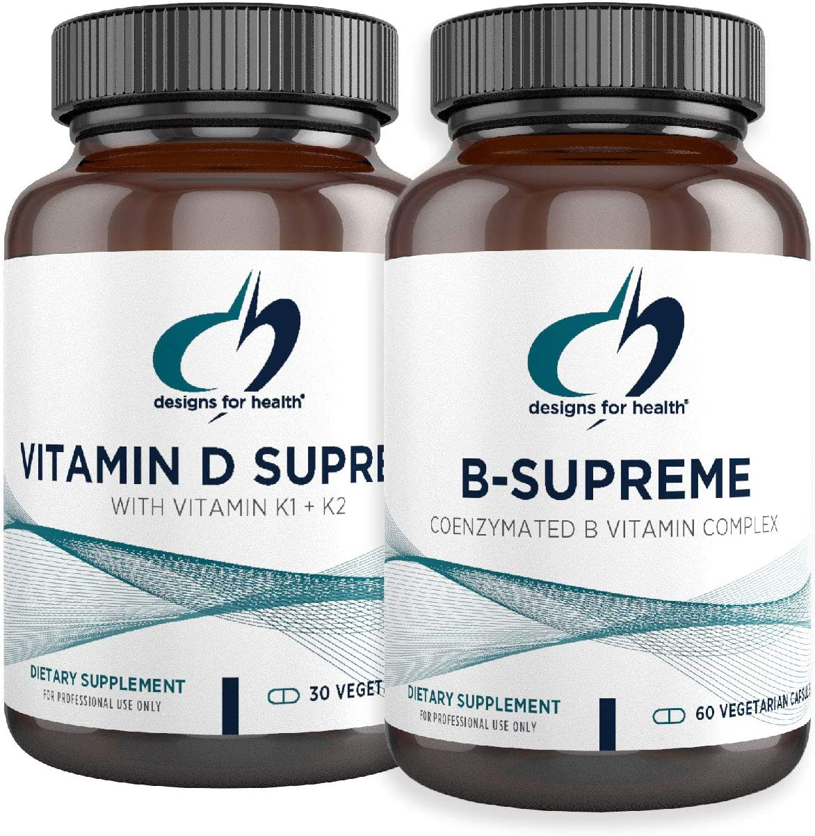 Designs for Health Vitamin D Supreme + B-Supreme Essentials Duo - 5000 IU Vitamin D3 + Vitamin K, Active B Complex (2 Product Set)