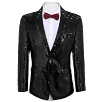 JINIDU Shiny Sequins Suit Jacket Blazer One Button Tuxedo for Party, Wedding, Banquet, Prom, Nightclub