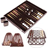 Peradix Multi-functional Backgammon Set with Chess Draughts Board - 17 Inch - 3 in 1 Portable Travel Backgammon Board Game Set with Roll-up Chess Checkers Board