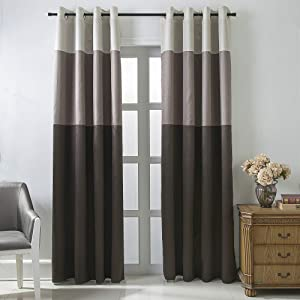 Jarl home Three-Color Stitching Blackout Curtains - Artificial Silk Blackout Window Drape Lined Double Curtains Grommet Top Curtain Panels for Living Room - 2 Panels (Coffee, 52 x 84 inch)