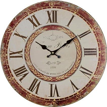 My Flair Reloj De Pared Vintage Madera Marrón